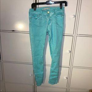 Zara Turquoise Skinny Dye Jeans Size 6